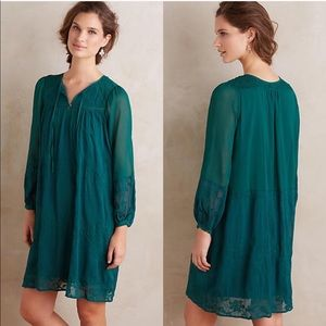 Anthropologie Tiny Green Embroidered Dress